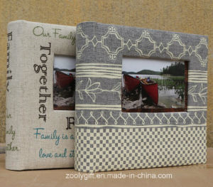 High Quality Printing Design Linen Fabric Photo Albums with Window pictures & photos