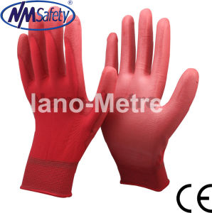 Nmsafety 13G Red PU Gardening Safety Working Gloves pictures & photos