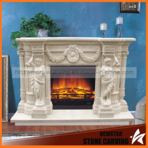 Natural Marble Fireplace Surround Statues Fireplace Mantel Mf1726 pictures & photos