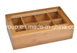 Solid Wood Box with Clear Window and 12 Compartments Wooden Tea Box pictures & photos