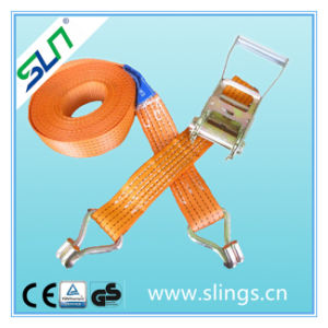 100% Polyester Ratchet Strap with Double J Hooks (5TX8M) pictures & photos