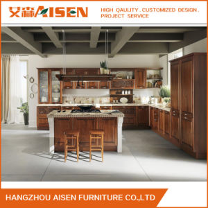 Custom Charming Brown Solid Wood Kitchen Cabinet Made in China pictures & photos