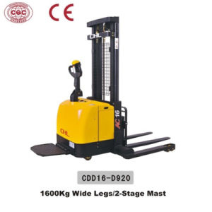 1.6 Ton Wide Legs Electric Pallet Stacker with EPS (CDD16-D920) pictures & photos