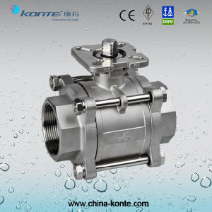 "2"" CF8m 3PC Ball Valve with ISO 5211 Mounting Pad Bsp/BSPT/NPT Thread Without Handle pictures & photos"