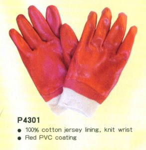 PVC Coating Gloves with Knitting Wrist P4301 pictures & photos