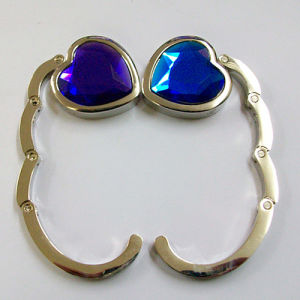 Heart Shape Foldable Metal Bag Hook with Crystal Diamond (F2006B)