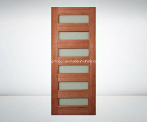 Glass Insert Solid Cherry Wood Interior Front Door Design Models pictures & photos