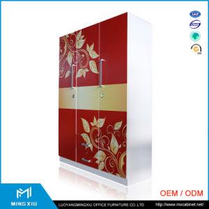 Luoyang Mingxiu Metal Steel Printing Flower Cloth 3 Door Metal Wardrobe Prices pictures & photos
