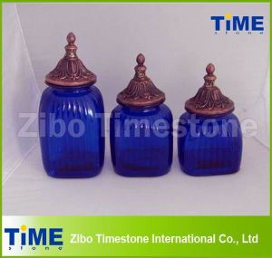 Decorative Blue Glass Storage Canisters with Finial Jar Top pictures & photos