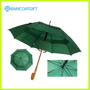 Auto-Opening Polyester Outdoor Golf Umbrella with Curved Wooden Handle pictures & photos