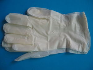 Full Textured Surface Disposable Latex Gloves pictures & photos