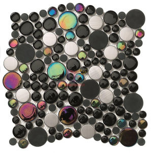 Black Round Wall Used Glass with Stainless Steel Crystal Mosaic (CFC254) pictures & photos