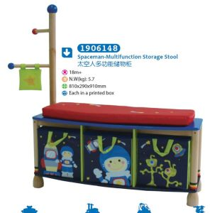 Wooden Multifunction Storage Stool Storage Box with Coatrack Children Furniture pictures & photos