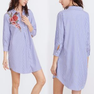Fashion Women Leisure Casual Stripe Flower Embroidery Shirt Dress pictures & photos