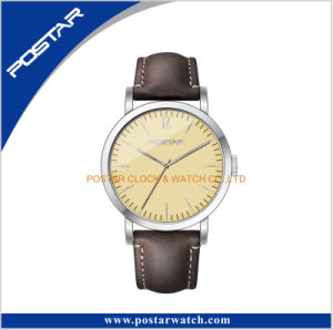 Arched Glass Automatic Movement Vogue Genuine Leather Strap Wrist Watch pictures & photos