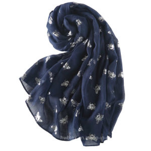 Top Quality Linen Cotton Butterfly Hot Stamping Stole / Fashion Scarf (HWBLC87) pictures & photos