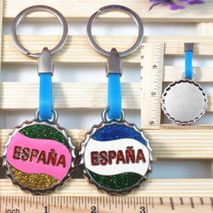 Souvenirs -Customized Glitter Enamel Wine Bottle Cap Pendant Key Chains Rings pictures & photos