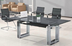 Rectangle Metal Leg Tempered Glass Conference Meeting Table /Desk (HX-GL051) pictures & photos