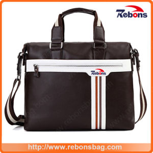 High Quality Men′s Spill-Proof High-Capacity Briefcase Business Oxford Cloth Computer Captop Bags with Striped and One Big Front Zipper Pocket pictures & photos