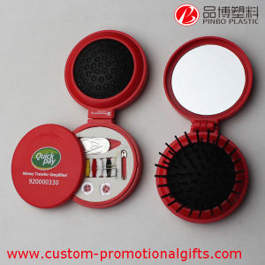 Plastic Round Travel Sewing Kit with Comb Mirror