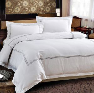 Premium 60s Platinum Stitch Embroidery White Cotton Hotel Bedding Set pictures & photos