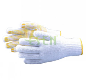 900g PVC Dotted Cotton Gloves Yellow Dots Gloves PVC Dotted Work Gloves pictures & photos