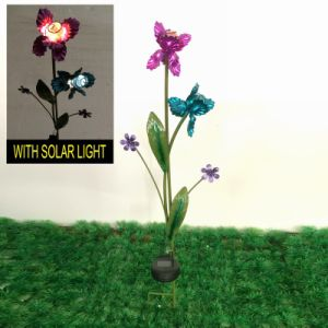 Flowering Shrubs Garden Decoration W. Solar Power Metal Stake Craft pictures & photos