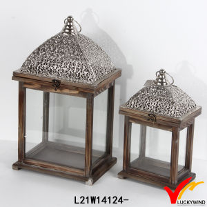 Antique Vintage Rectangle Decorative Wooden Candle Lantern pictures & photos