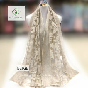 2017 New Design Lady Fashion Silk Scarf with Cutting Flower Shawl pictures & photos