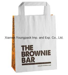 Fashion Custom Printed Flat Handle White Kraft Paper Carrier Bag with Wide Gusset pictures & photos
