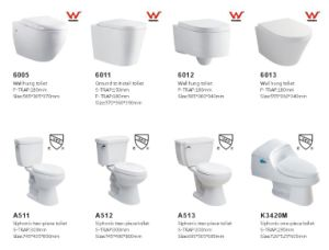 Modern Watermark Bathroom Floor Mounted Ceramic Toilet Pan (6011) pictures & photos
