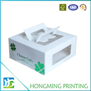 Take Away White Paper Brownies Box with PVC Window pictures & photos