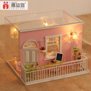 New Beautiful Pink DIY House Toy Miniature Model Girls′ Gifts pictures & photos