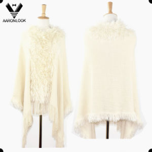 Fashion Acrylic Long Fringe Collar Knitted Lady Poncho pictures & photos