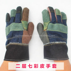 Anti-Scratch Cow Split Leather Protective Safety Work Gloves pictures & photos