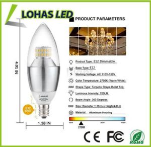 60 Watt Equivalent Warm White E12 LED Decorative Candle Light Bulb Candelabra Base pictures & photos