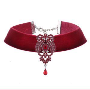 Fashion Rhinestone Crystal Pendant Velvet Choker Necklace Jewelry pictures & photos