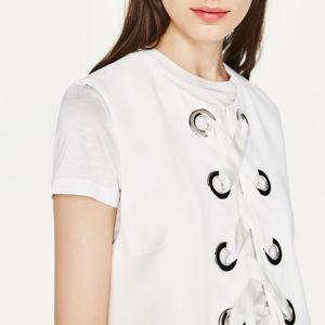 Ladies Fashion Metal Ring Sleeveless Bandage Long Vest Jacket Blouse pictures & photos