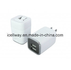 Folding Plug USB Travel Charger with Two USB Ports for Us EU Market pictures & photos