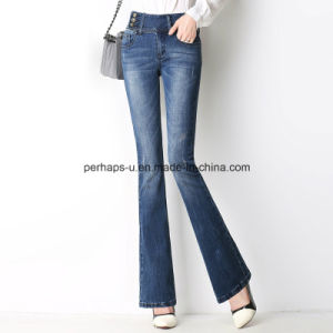 High Quality Charming Women Bell Bottom Long Jeans Ladies Pants pictures & photos