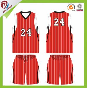 Red Orange Pink Custom Sublimated Stripe Basketball Uniform pictures & photos