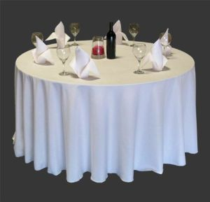Hotel Wedding Table Cloth Cover Round Polyester Tablecloth (DPF10780) pictures & photos