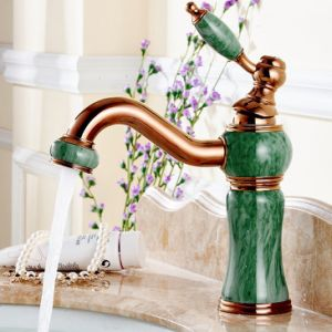 Flg Rose Gold Painting Bathroom Jade Single Handle Faucet pictures & photos