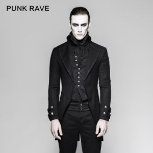 Festival European Style Black Men Gothic Punk Brocade Long Jackets (Y-750) pictures & photos