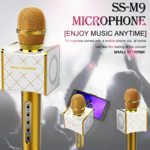 Metal Design Ss-M9 Wireless 4.0 Bluetooth Karaoke Mic Speaker Golden Echo Microphone with Smartphone Clip for Android Ios