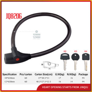 Jq8206 High Quality Security Bicycle Lock Motorcycle Steel Cable Lock with Pvu pictures & photos