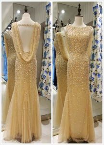 Top Sale Mermaid Gold Long EU 32-40 Heavy Beading Evening Dress pictures & photos