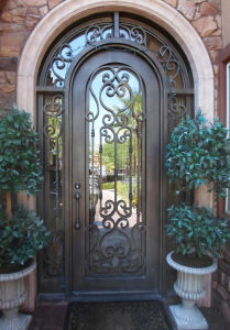Modern Steel Grill Design Main Entrance Wrought Iron Door pictures & photos
