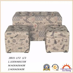 Fabric Print Patterned Wooden Ottoman Bench Stacking Shoe Rack for Living Room pictures & photos