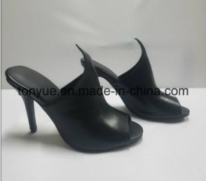 Lady Thin Heel Kid Leather Open Toe Women Sandals pictures & photos